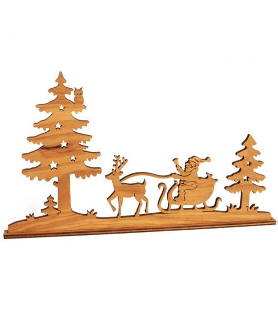 Diorama en placage d'olivier, père Noël en traineau dans la forêt,12 cm