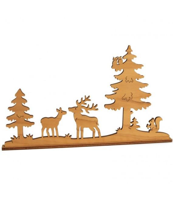 Cerf et biche dans la forêt, diorama en placage d'olivier, 12 cm