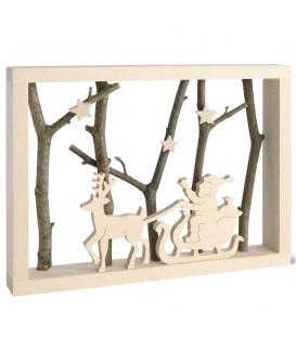 Père noel dans traineau dans cadre en bois, 15 cm