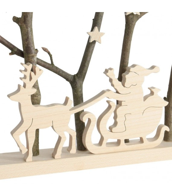 Père Noël dans traineau dans cadre en bois, 15 cm