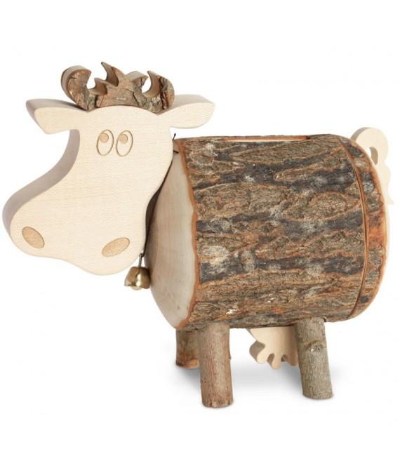 Tirelire en bois vache, 10 cm