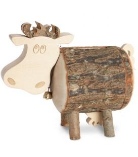 Tirelire en bois, vache 10 cm