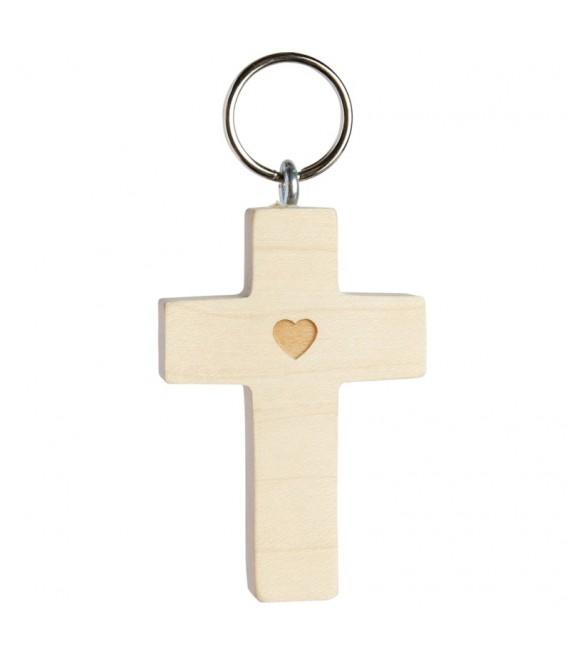 Porte-clé croix avec coeur n° 1, 5 cm