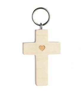Porte-clé croix en bois avec coeur, 5 cm