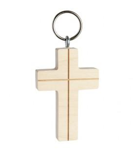 Porte-clés croix en bois avec croix, 5 cm