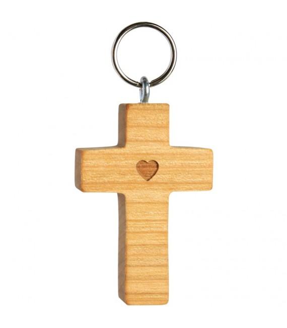 Porte-clefs croix avec coeur bois d'olivier n° 1, 5 cm
