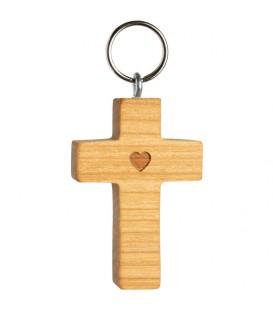 Porte-clefs croix en bois de cerisier avec coeur, 5 cm