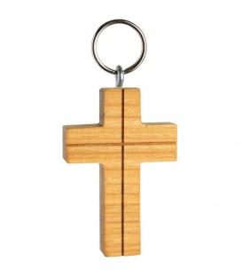 Porte clé croix en bois de cerisier avec croix, 5 cm