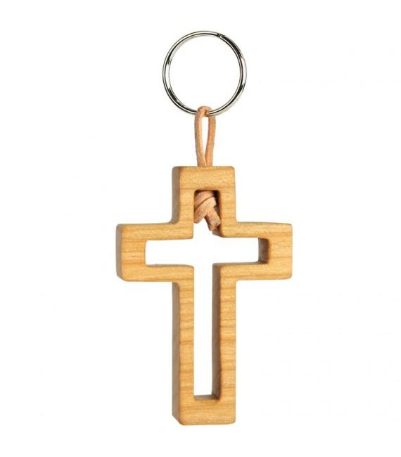 Porte clef croix avec croix découpe bois d'olivier n° 3, 5 cm