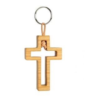 Porte clef en bois de cerisier avec croix découpée, 5 cm