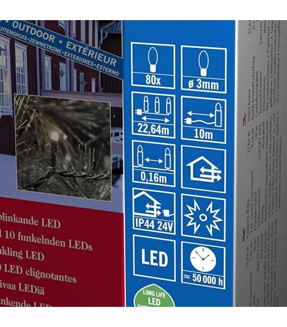 Guirlande lumineuse LED pour illumination Noël extérieur, effet scintillant, 80 diodes