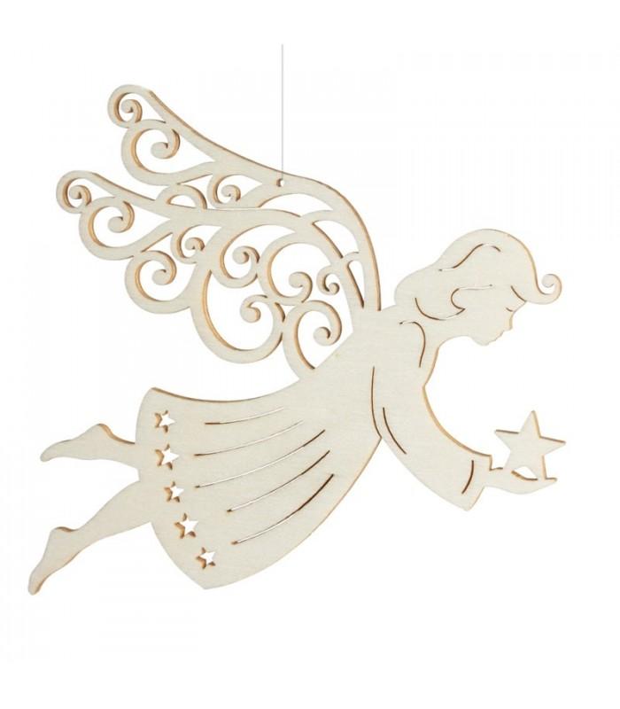 Ange de Noël pour sapin à suspendre   En bois d'érable, 14 cm