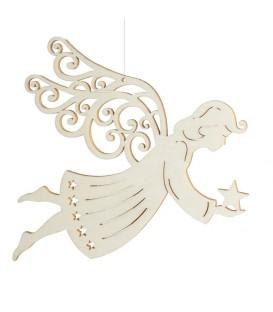 Ange de Noël à suspendre en feuille d'érable, 14 cm