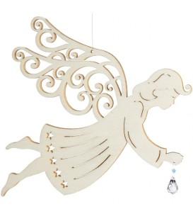 Ange de Noël à suspendre en feuille d'érable avec cristal swarovski, 19 cm