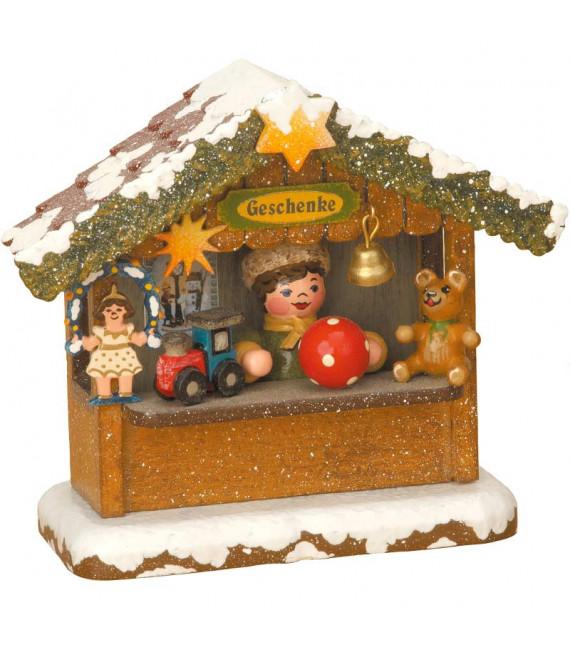 Village Noël miniature, chalet marché de Noël vendeur de jouets