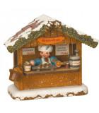 Village Noël miniature, chalet marché de Noël vendeur de saucisses