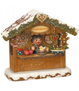 Village Noël miniature, chalet marché de Noël vendeur de gateaux