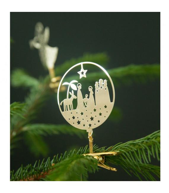 Crèche nativité à clipser sur le sapin de Noel