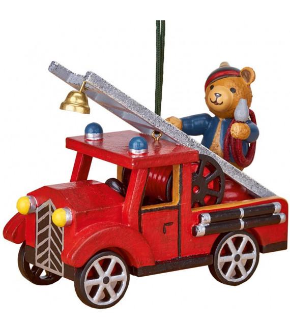 Déco sapin vintage, ourson sur voiture de pompier