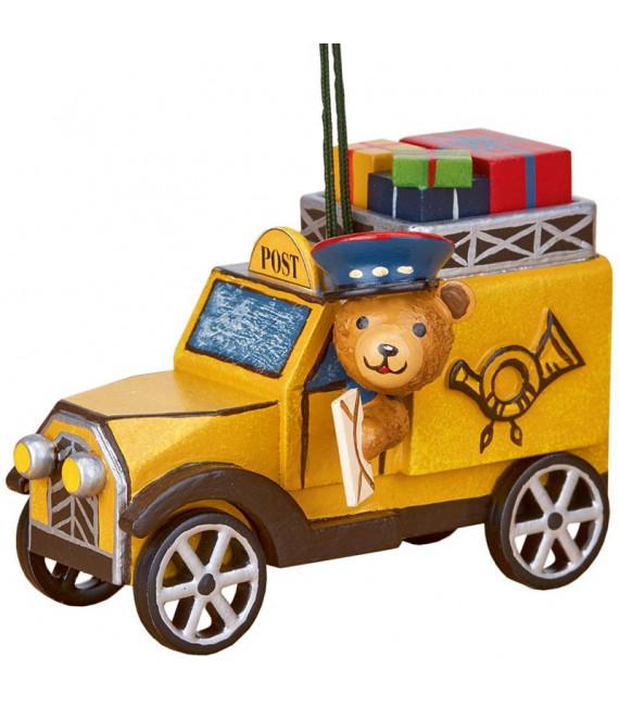 Déco sapin vintage, ourson et voiture de la poste