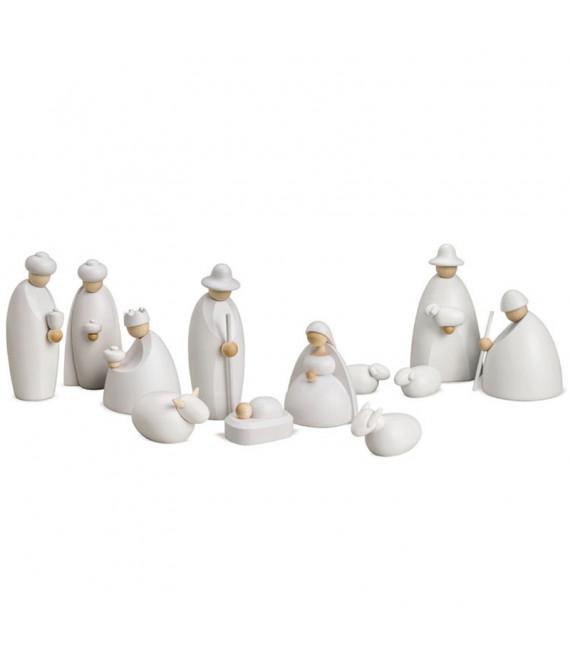 Crèche de Noël complète avec 12 personnages 12 cm BLANC