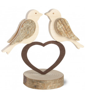2 oiseaux en bois sur un coeur, 9 cm