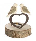 Bougeoir en bois 2 oiseaux sur un coeur, 13 cm