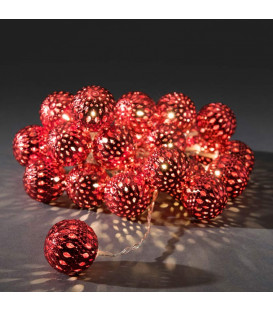 Guirlande lumineuse boules métal rouge, 24 diodes LED