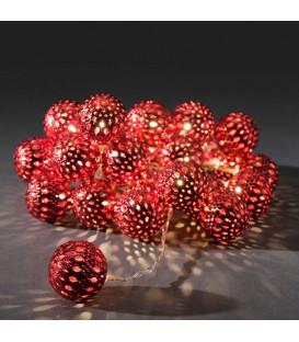 Guirlande lumineuse boules métal rouge, 24 diodes LED