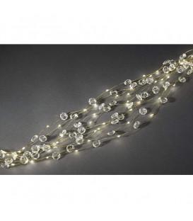 Guirlande lumineuse LED ornées de diamants, 200 diodes blanc chaud, fil doré