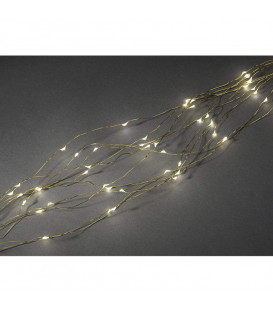 Guirlande LED lumineuse ornées de gouttes, 200 diodes blanc chaud, fil doré