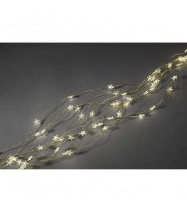 Guirlande lumineuse LED à lamelles étoilées, 200 diodes blanc chaud, fil doré