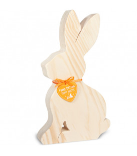 Grand lapin en bois naturel, 25 cm