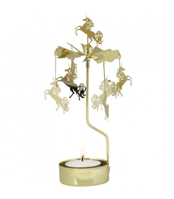Bougeoir carrousel licornes dorées
