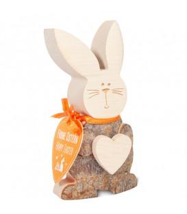 Petit lapin de Pâques en bois avec coeur, 10 cm