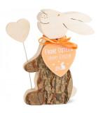 Lapin en bois avec coeur, 10 cm