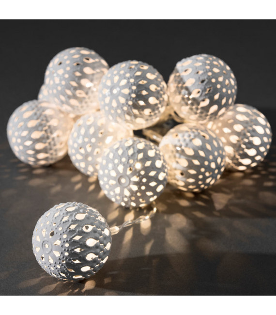 Guirlande lumineuse à piles, boules métal blanches, 10 diodes LED