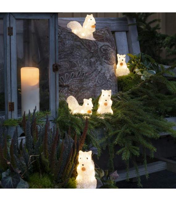 Écureuils lumineux 12 cm en acrylique, 40 diodes blanc chaud