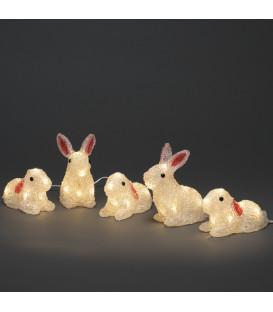 Lapins lumineux 14 cm en acrylique, 40 diodes blanc chaud