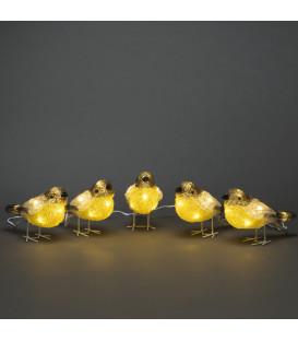 Oiseaux lumineux Led en acrylique, 5 chardonnerets