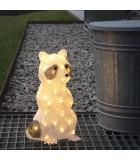 Raton laveur à LED en acrylique, debout, 48 diodes blanc