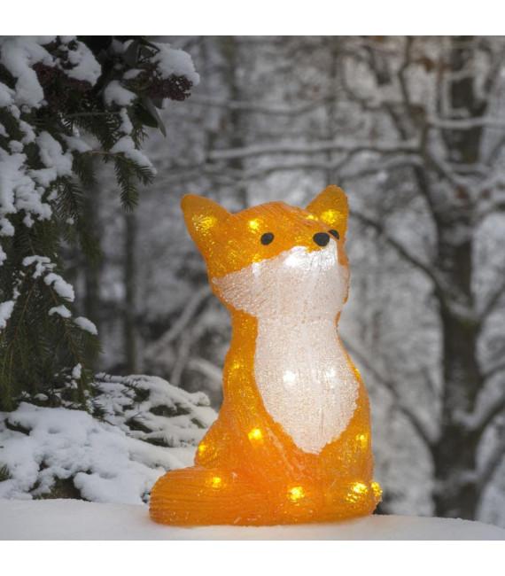 Renard lumineux à Led en acrylique, 27 cm