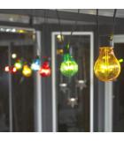Guirlande lumineuse de terrasse 10 m extensible, 10 ampoules multicolores