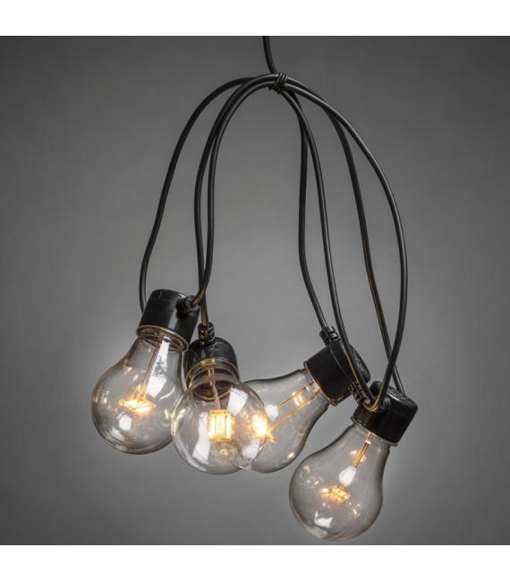 Rallonge 10 m pour guirlande lumineuse de terrasse, 10 ampoules ambrées