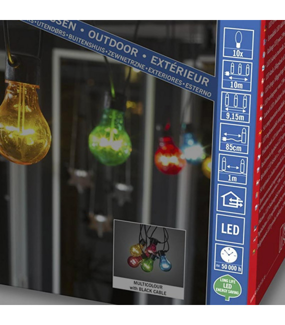 Rallonge 10 m pour guirlande lumineuse de terrasse, 10 ampoules multicolores