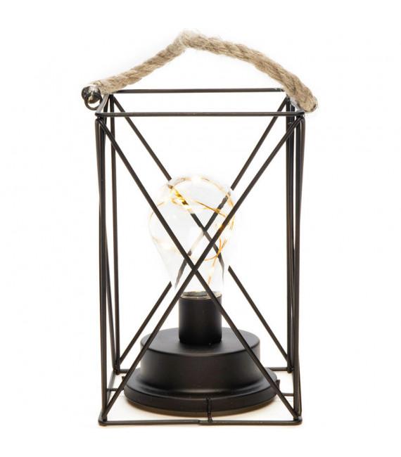 Lanterne lumineuse à Led en métal, carrée, 19 cm