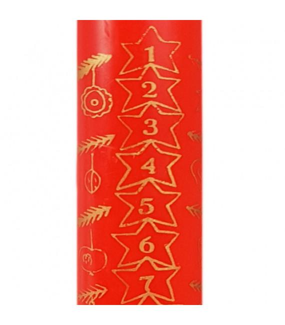 Bougie de l'Avent rouge 25 cm