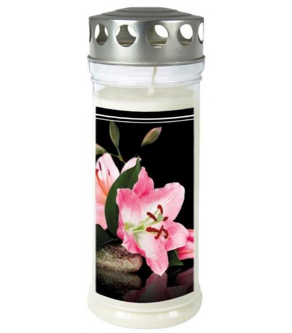 Bougie funéraire fleur de lys, 21,5 cm