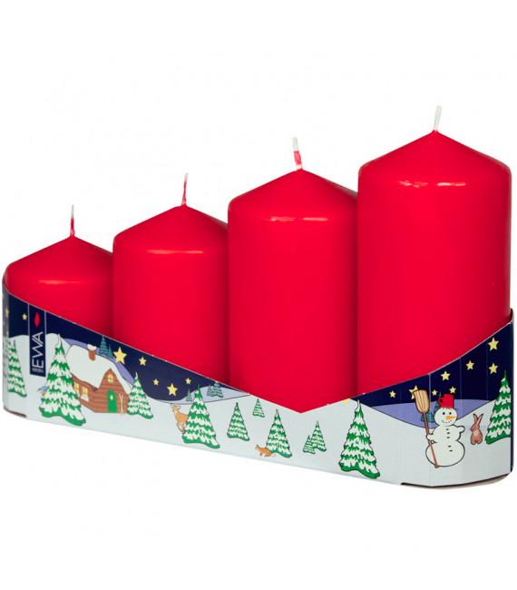 4 grosses bougies de l'Avent 50 mm, hauteur 65/80/95/110