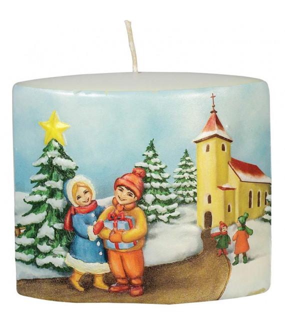 Bougie de Noël vintage scène enfant et village